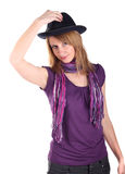 Girl in a hat. Isolated on the white Royalty Free Stock Photography