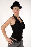 Girl with hat. Brunet girl with a hat Stock Photo