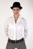 Girl with hat. Brunet girl in white with hat Royalty Free Stock Photo