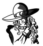 Portrait of a woman with hat. Artistic illustration that represents a woman with a decorated hat Royalty Free Illustration