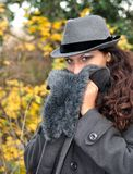 Girl with Hat. And coat, blue eyes Stock Photos