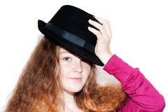 A girl and a hat Royalty Free Stock Photo