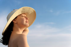 The girl in a hat Stock Photography