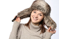 Girl in a hat. Portrait of young adult girl in a hat Stock Image