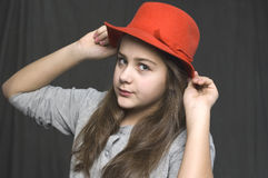 Girl with hat Royalty Free Stock Images
