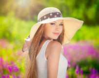 Girl in hat Royalty Free Stock Photography