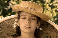 Girl with hat. Preety young girl with hat Stock Photography