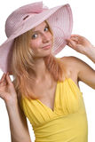 The girl in a hat royalty free stock photos
