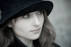 Girl in hat. Nice girl with dark hat Royalty Free Stock Photo