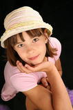 Girl with hat. Smiling girl with hat portrait Stock Photography