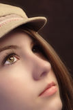 Girl in a hat stock photo