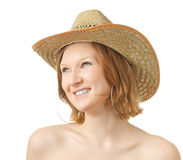 Girl in a hat. Girl in a straw hat on white background Stock Photos