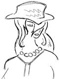 Sketch of stylized Girl with hat isolated. Artistic illustration that represents a woman with a decorated hat Stock Photography