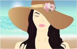 Girl in a hat, beach view beauty vector illustration