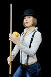 Girl in hat with billiard cue Royalty Free Stock Photo