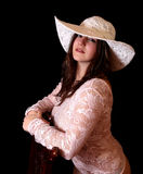 Girl, hat and chair Royalty Free Stock Image