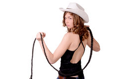 Girl in hat. Girl in a cowboy hat royalty free stock photo