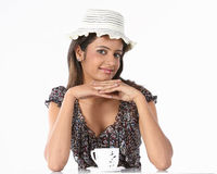 Girl with hat and cup of coffee Stock Photo