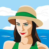 The girl in the hat. Cute girl by the sea. Vector illustration Stock Photography