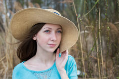 Girl in hat dreaming Royalty Free Stock Photos