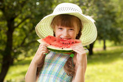 Girl in the hat and dress Royalty Free Stock Photos