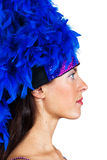 Girl in a hat with feathers Royalty Free Stock Photography