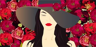 Girl in hat, flowers background style beauty vector illustration