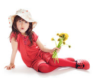 Girl in a hat with flowers Stock Photo