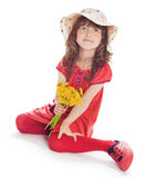 Girl in a hat with flowers Royalty Free Stock Images