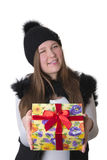 Girl in hat with a gift Stock Photos