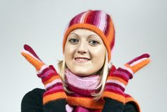 girl in a hat and gloves Royalty Free Stock Photography
