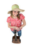 Girl with hat and guitar Royalty Free Stock Photography