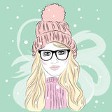The girl in the hat . Hipster. Girl in glasses. Vector. Stock Photo