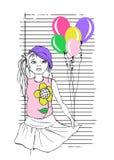 Girl in hat holding balloon, kids t-shirt print vector illustration