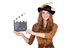 Girl in hat holding clapperboard isolated on white Stock Image