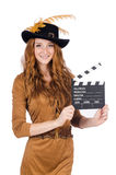 Girl in hat holding clapperboard isolated on white Royalty Free Stock Photo
