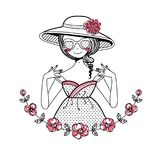 Girl in the hat. Illustration for postcard, print, T-shirt, poster,daily schedule. Vector image royalty free illustration