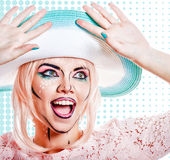 Girl in hat with makeup in the style of pop art. Royalty Free Stock Photos