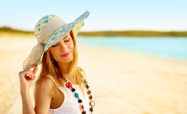 Girl in a hat Stock Image