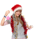 Girl in hat santa Stock Photos