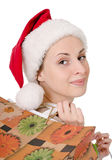 Girl in the hat of Santa Claus Stock Images