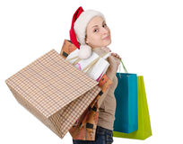 Girl in the hat of Santa Claus Stock Photography