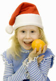 Girl in the hat of Santa Claus Royalty Free Stock Photo