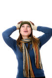 Girl in hat and scarf. An image of a girl in a green hat and scarf Stock Images
