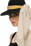 Girl in hat with scarf Stock Photos