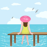 Girl in hat and sea. Illustration of a girl wearing a hat that sits on back of wooden pontoon on background of sea Royalty Free Stock Photography