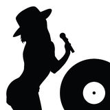 Girl with hat singing illustration Stock Images