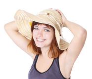 Girl with hat is smiling Stock Images