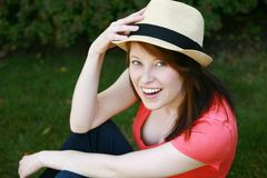Girl in hat smiling Royalty Free Stock Image