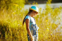 Girl in a hat stands among the tall grass Royalty Free Stock Photos